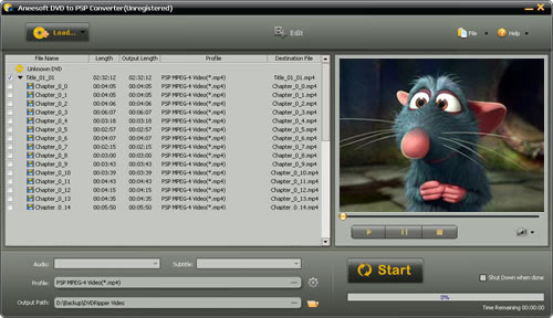Aneesoft DVD to PSP Converter Screenshot 1