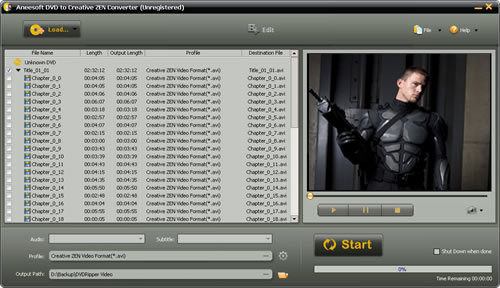 Aneesoft DVD to Creative ZEN Converter Screenshot