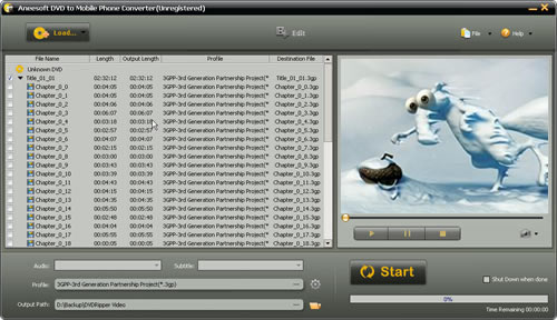 Aneesoft DVD to Mobile Phone Converter Screenshot 1