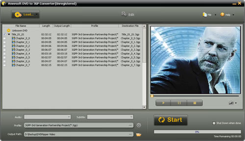 Aneesoft DVD to 3GP Converter Screenshot