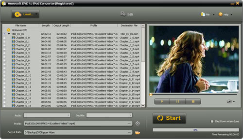 Aneesoft DVD to iPod Converter Screenshot
