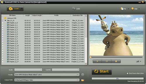 Aneesoft DVD to Zune Converter Screenshot 1