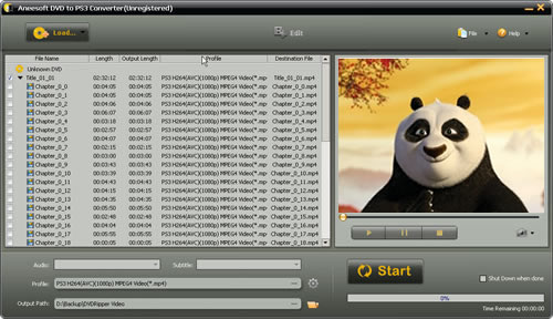 Aneesoft DVD to PS3 Converter Screenshot
