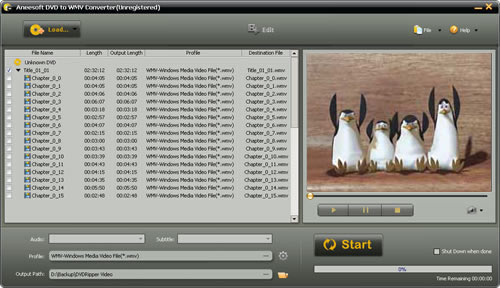 Aneesoft DVD to WMV Converter Screenshot 1
