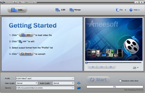 Aneesoft Free Video Converter Screenshot