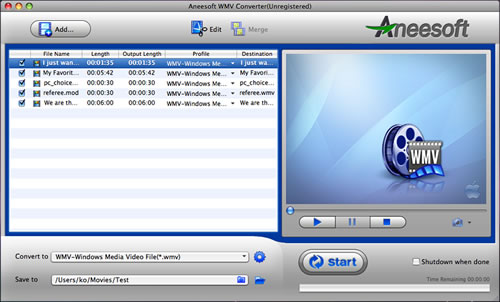 Aneesoft WMV Converter for Mac Screenshot