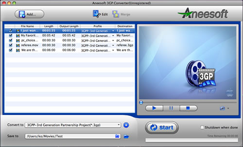 Aneesoft 3GP Converter for Mac Screenshot 1