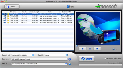Aneesoft DVD to PSP Converter for Mac Screenshot