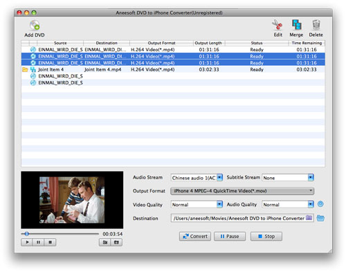 Aneesoft DVD to iPhone Converter for Mac Screenshot