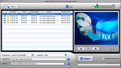 Aneesoft DVD to FLV Converter for Mac Screenshot 1