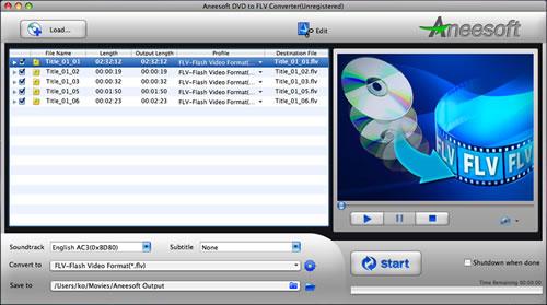 Aneesoft DVD to FLV Converter for Mac Screenshot