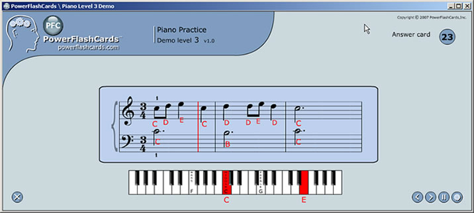 PFC Piano Flash Cards Exercises for Windows Screenshot