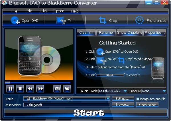 Bigasoft DVD to BlackBerry Converter Screenshot 1