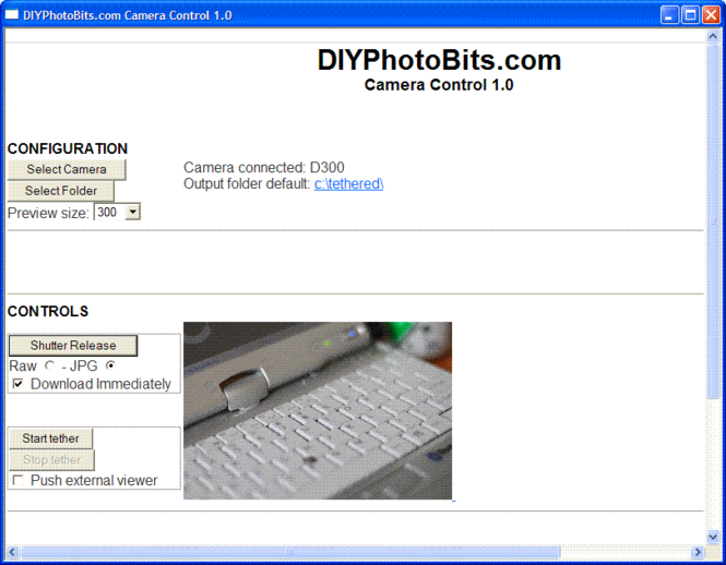 DIYPhotobits.Com CameraControl Screenshot