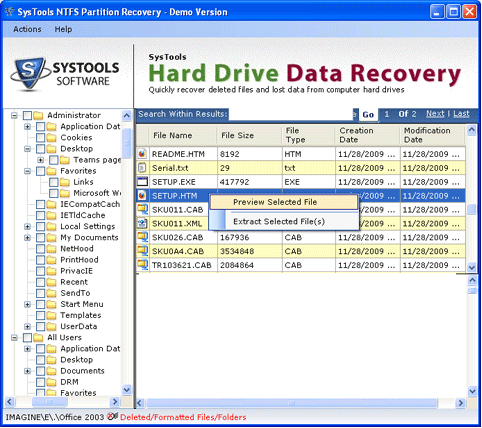File Restoration Program Screenshot