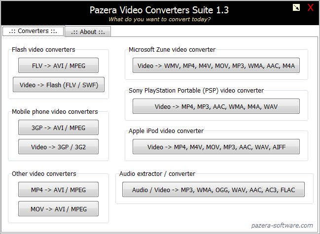 Pazera Video Converters Suite Screenshot 1