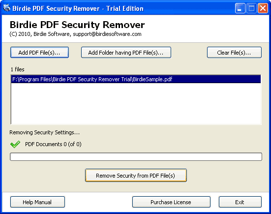 Birdie PDF Security Remover Screenshot