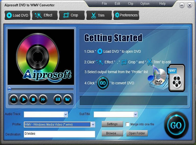 Aiprosoft DVD to WMV Converter Screenshot