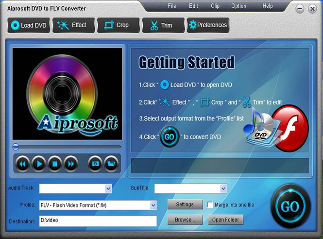 Aiprosoft DVD to FLV Converter Screenshot