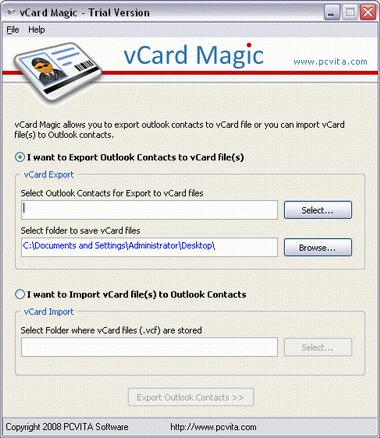 PCVITA vCard Magic Screenshot 1