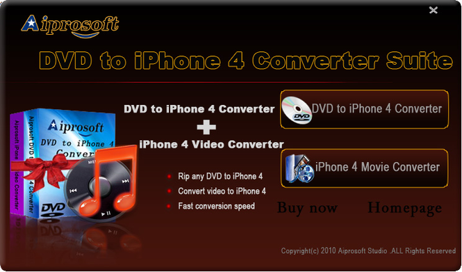 Aiprosoft DVD to iPhone 4 Converter Suit Screenshot 1