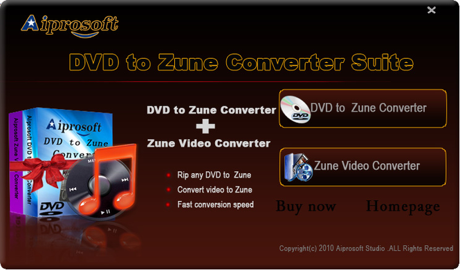 Aiprosoft DVD to Zune Converter Suite Screenshot
