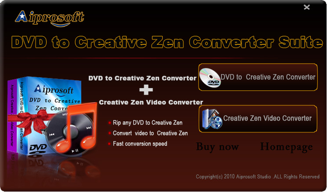 Aiprosoft Creative Zen Converter suite Screenshot