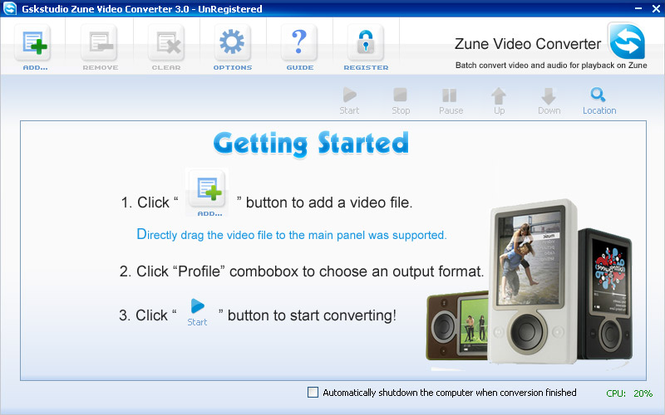 Gskstudio Zune Video Converter Screenshot 1