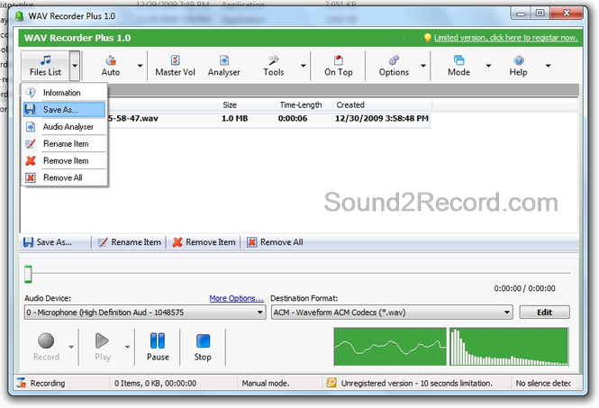 WAV Recorder Plus Screenshot