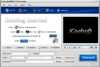 iCoolsoft MPEG TS Converter Screenshot