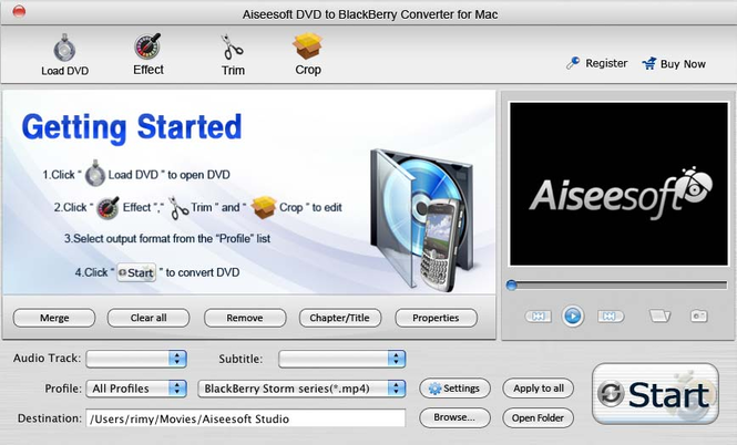 Aiseesoft Mac DVD BlackBerry Converter Screenshot