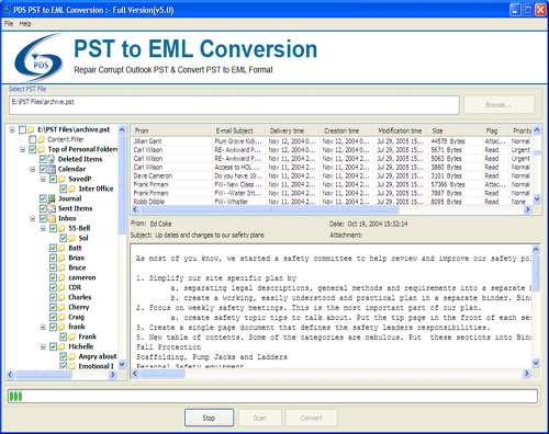 PST to EML Converter Screenshot