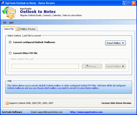 Outlook to NSF Screenshot 1