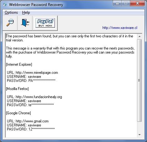 Webbrowser Password Recovery Screenshot