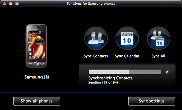 FoneSync for Samsung phones Screenshot