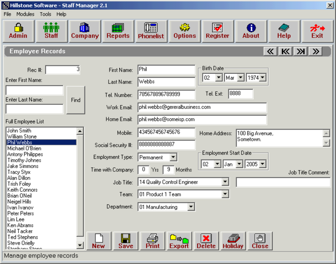Hillstone Software - Staff manager Screenshot