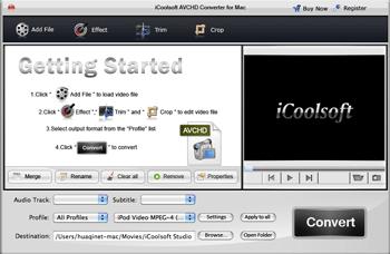 iCoolsoft AVCHD Converter for Mac Screenshot