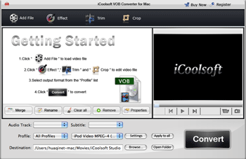 iCoolsoft VOB Converter for Mac Screenshot