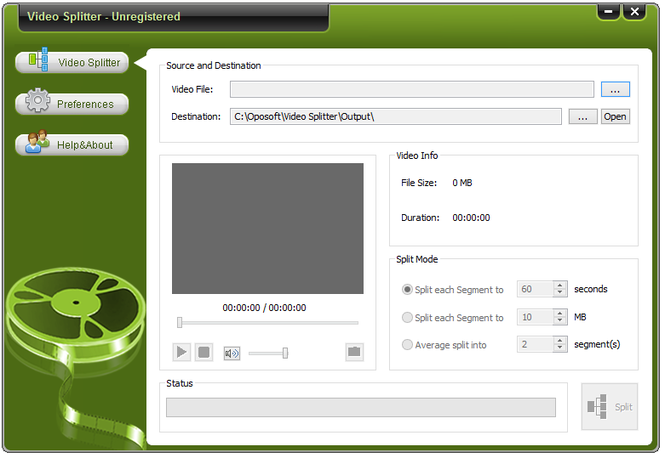 Oposoft Video Splitter Screenshot