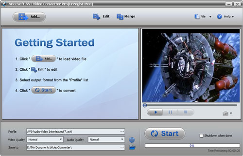 Aneesoft AVI Video Converter Screenshot 1
