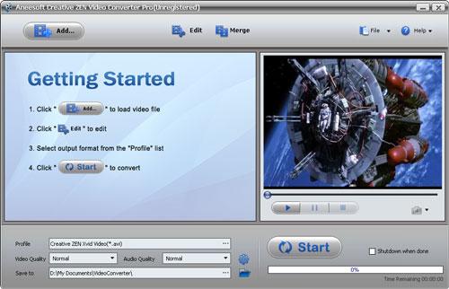 Aneesoft Creative ZEN Video Converter Screenshot 1