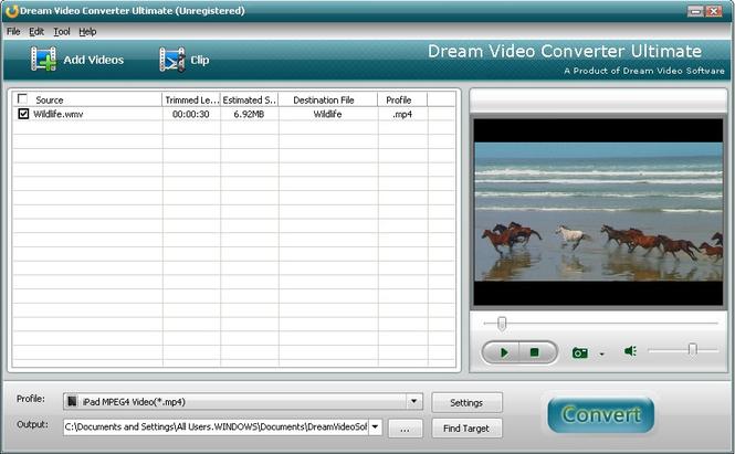 Dream FLV to mp4 Converter Screenshot