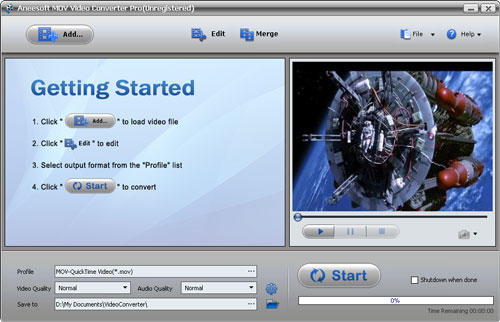 Aneesoft MOV Video Converter Screenshot
