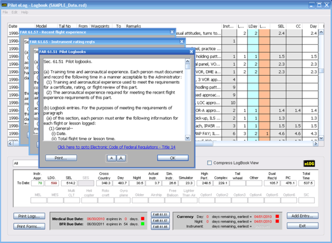 Pilot eLog for Windows Screenshot 2