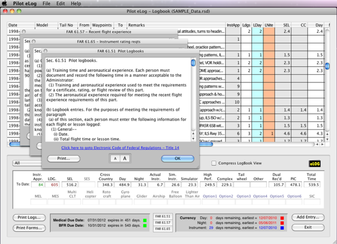 Pilot eLog for Mac OS X Screenshot