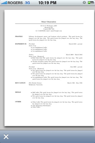 Pocket Resume Screenshot