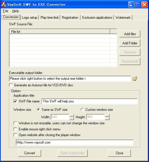 VaySoft SWF to EXE Converter Screenshot 1