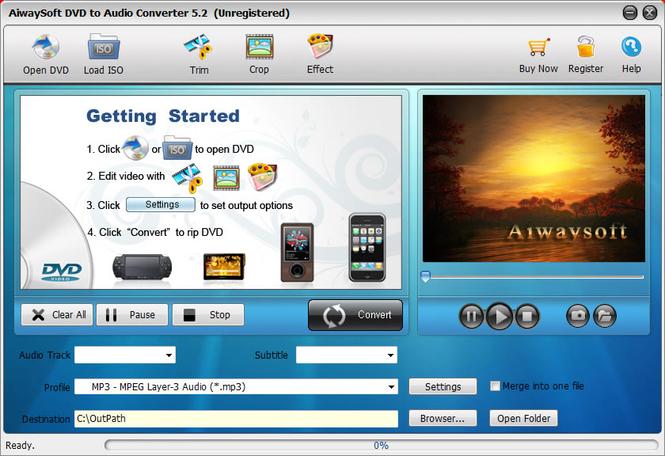 Aiwaysoft DVD to Audio Converter Screenshot