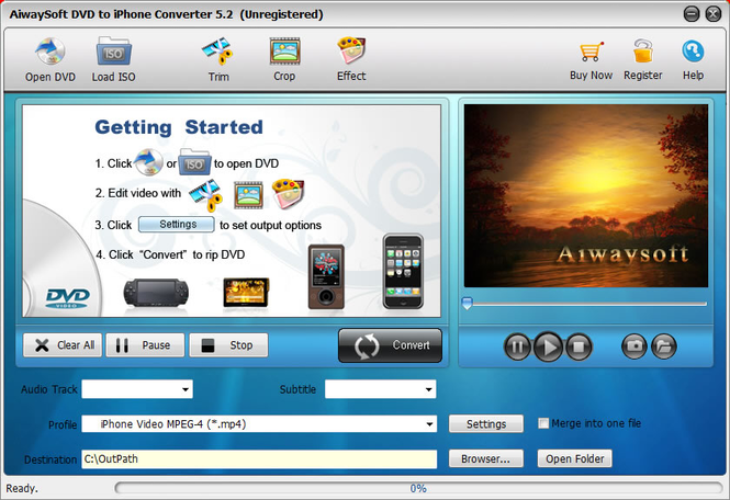 Aiwaysoft DVD to iPhone Converter Screenshot