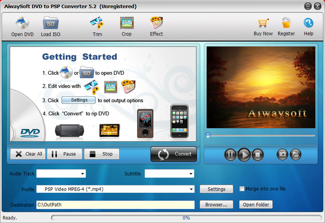 Aiwaysoft DVD to PSP Converter Screenshot 1